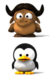 Unir imágenes desde la línea de comandos - Baby GNU y Baby Tux