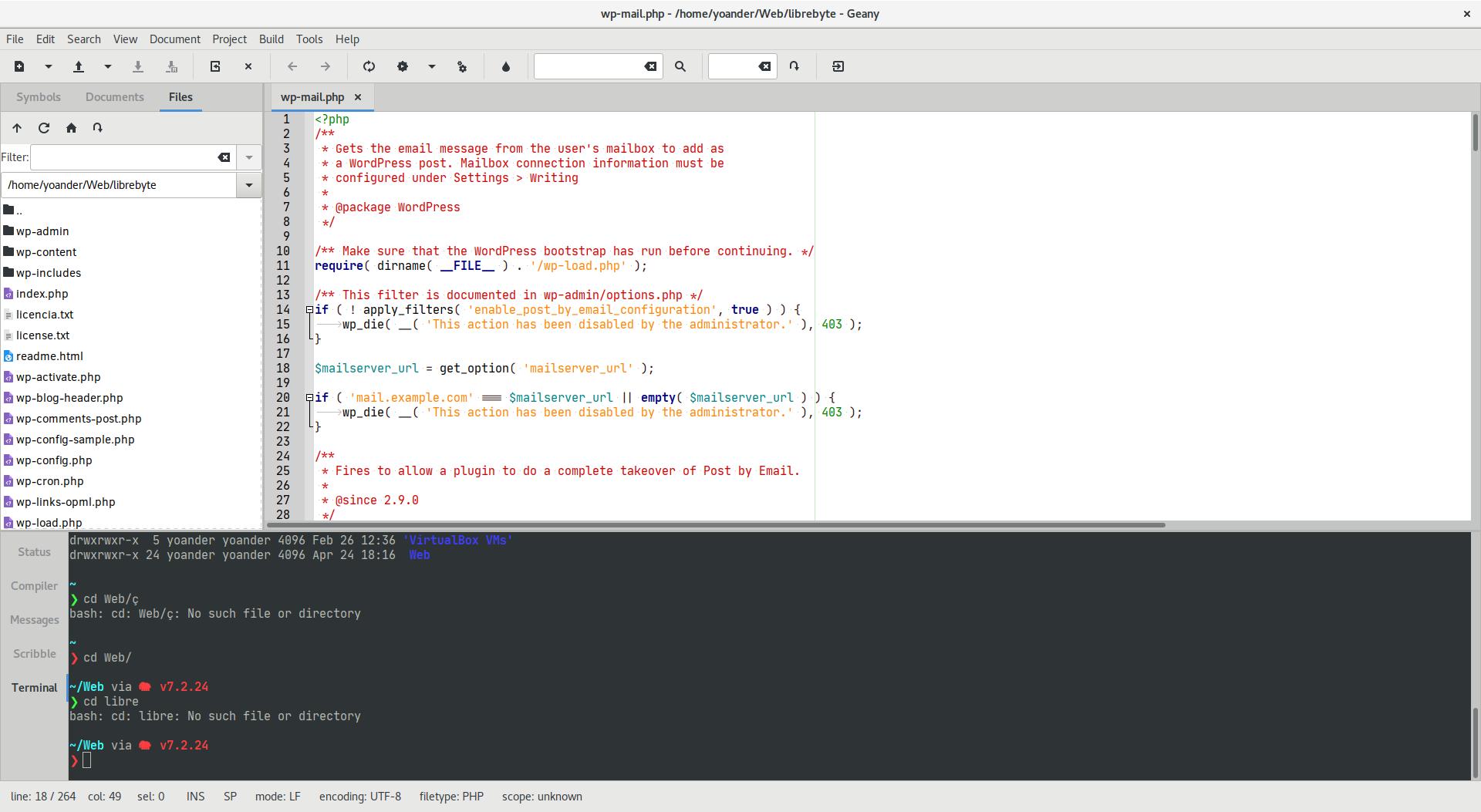 Geany un IDE de desarollo ligero y flexible - Terminal integrada al IDE