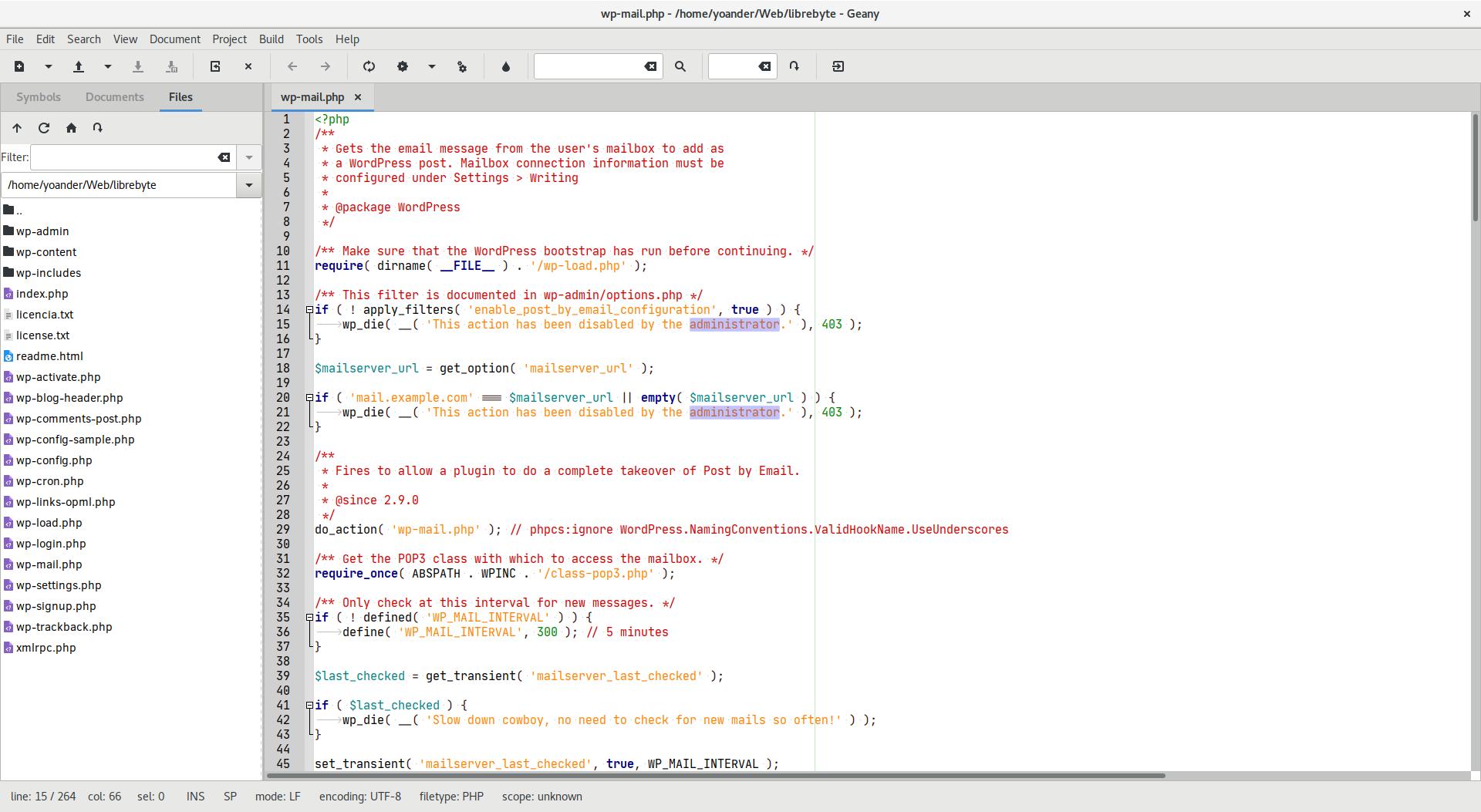 Geany un IDE ligero y flexible - Edición de un fichero PHP