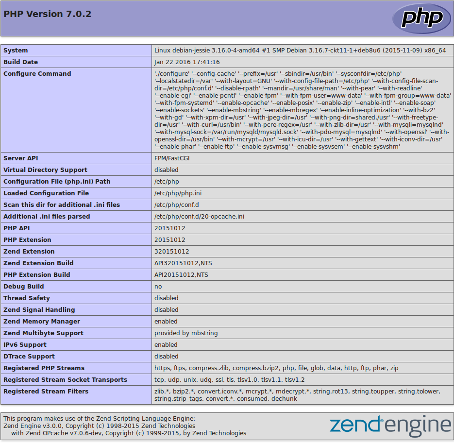 PHP 7 info