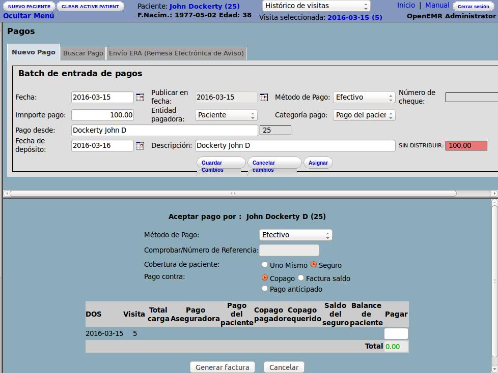 OpenEMR facturación