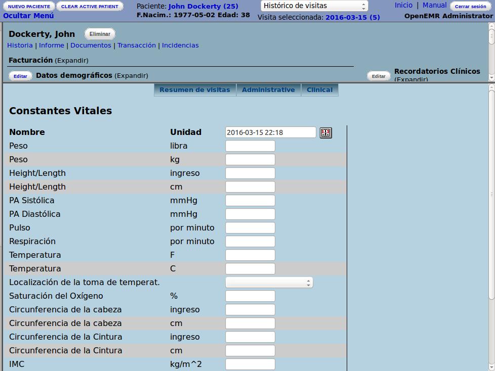 OpenEMR constantes vitales