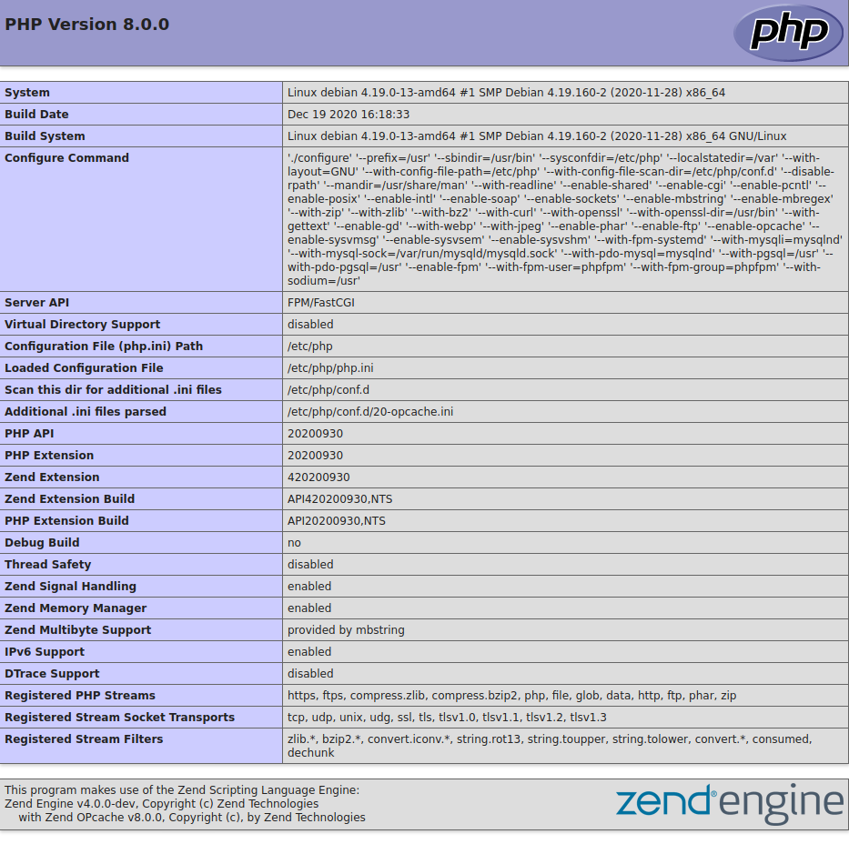 PHP 8.0.0 Info